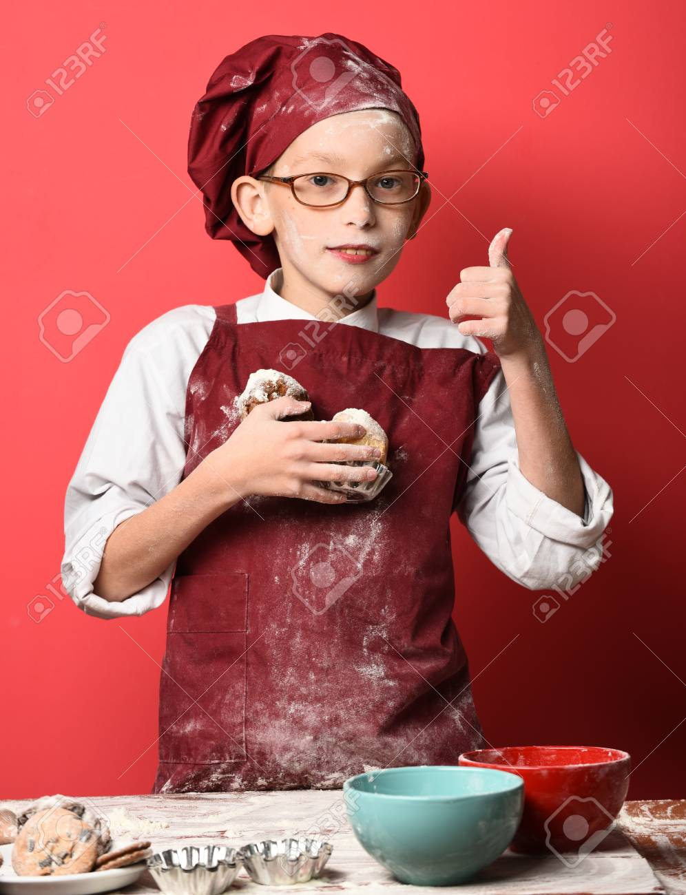 Young Boy Cute Cook Chef In Uniform And Hat On Stained Face Flour 996x1300