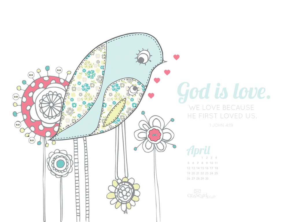 2015   God is Love Desktop Calendar  Monthly Calendars Wallpaper 1024x768