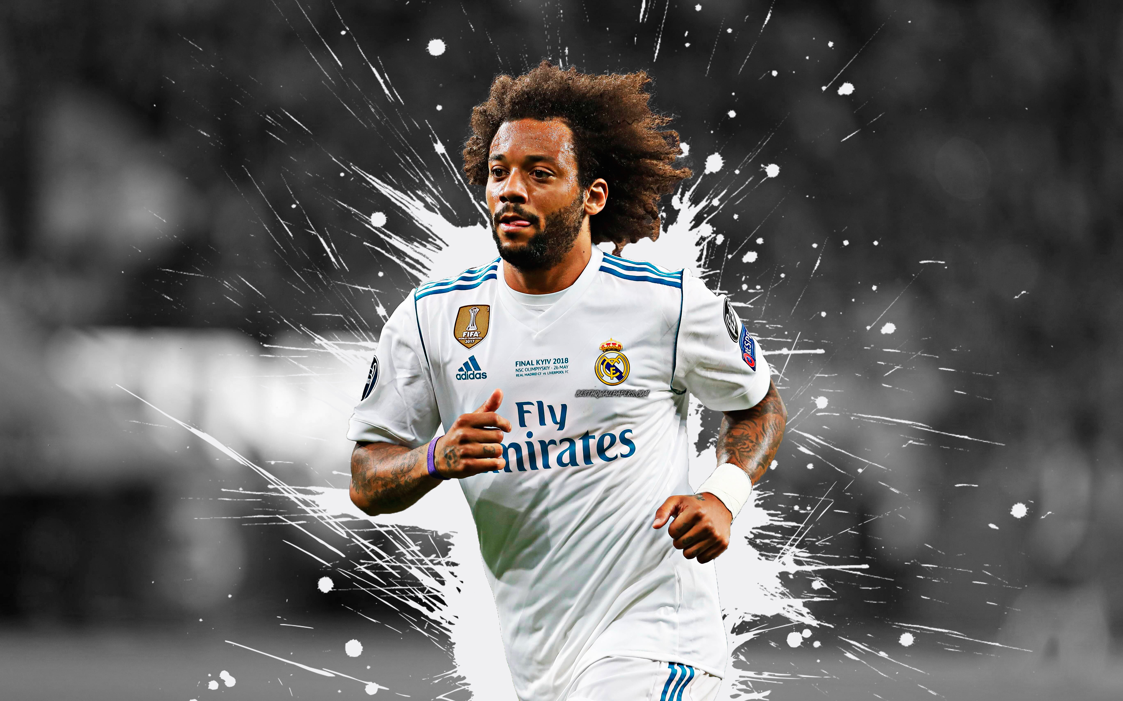 Download wallpapers Marcelo 4k Real Madrid art splashes of 3840x2400
