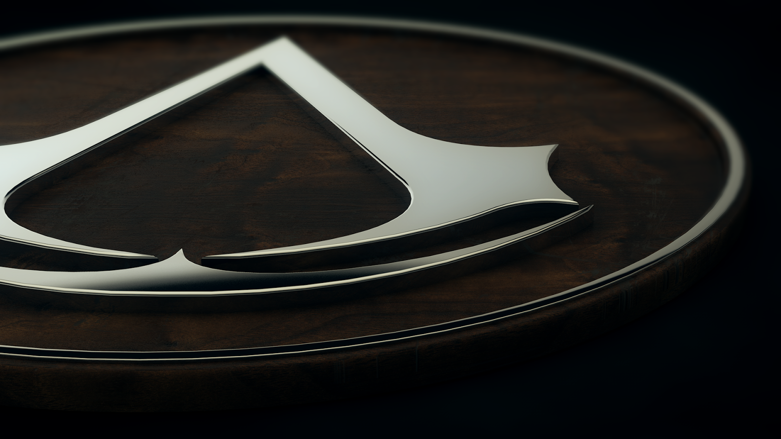 3D Assassins Creed Chrome Logo HD Wallpaper 1600x900