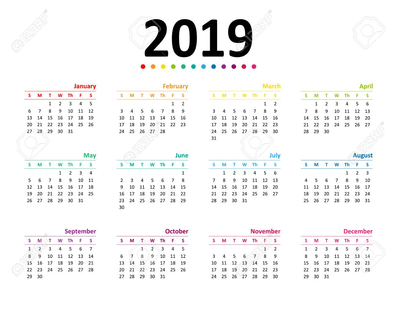 Year 2019 Calendar Wallpaper Vector Illustration Royalty 1300x1040