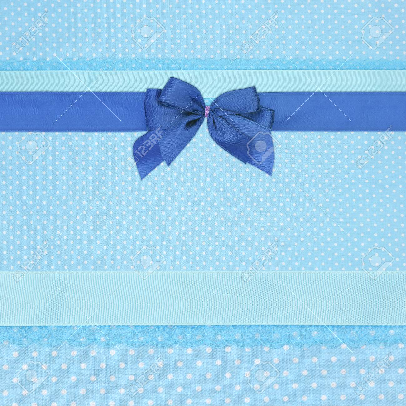 Blue Retro Polka Dot Textile Background With Ribbons And Bow Stock 1300x1300