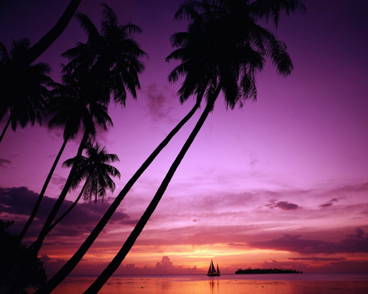 tropical island beach scenery amazing sunset desktop wallpaper 1280x1024