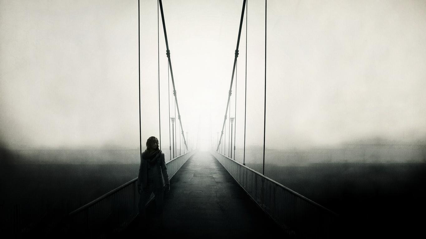 Wallpaper silhouette bridge road man mist beautiful wide  on the 1366x768