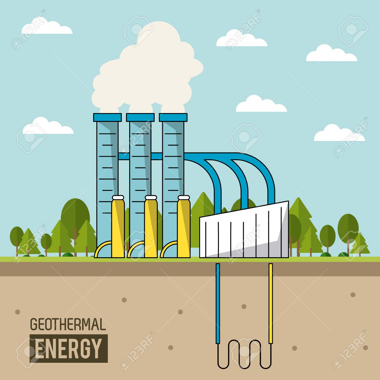 Coloful Background Geothermal Energy Production Plant With Forest 1300x1300
