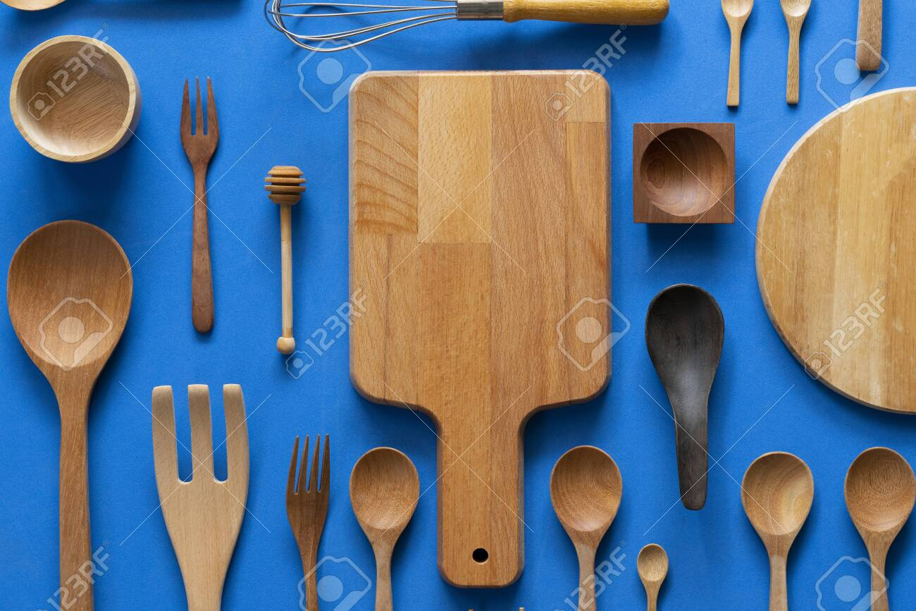 Kitchen Utensils For Cooking On The Blue Background Food Prepare 1300x867