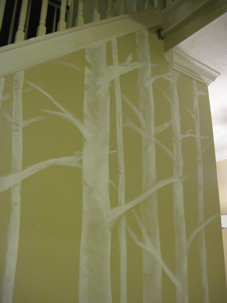 at And Then There was Home made a freehand birch wall mural using 768x1024