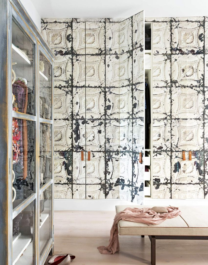 Contemporary Dressing Room with Wallpapered Wardrobes and Bench 850x1080