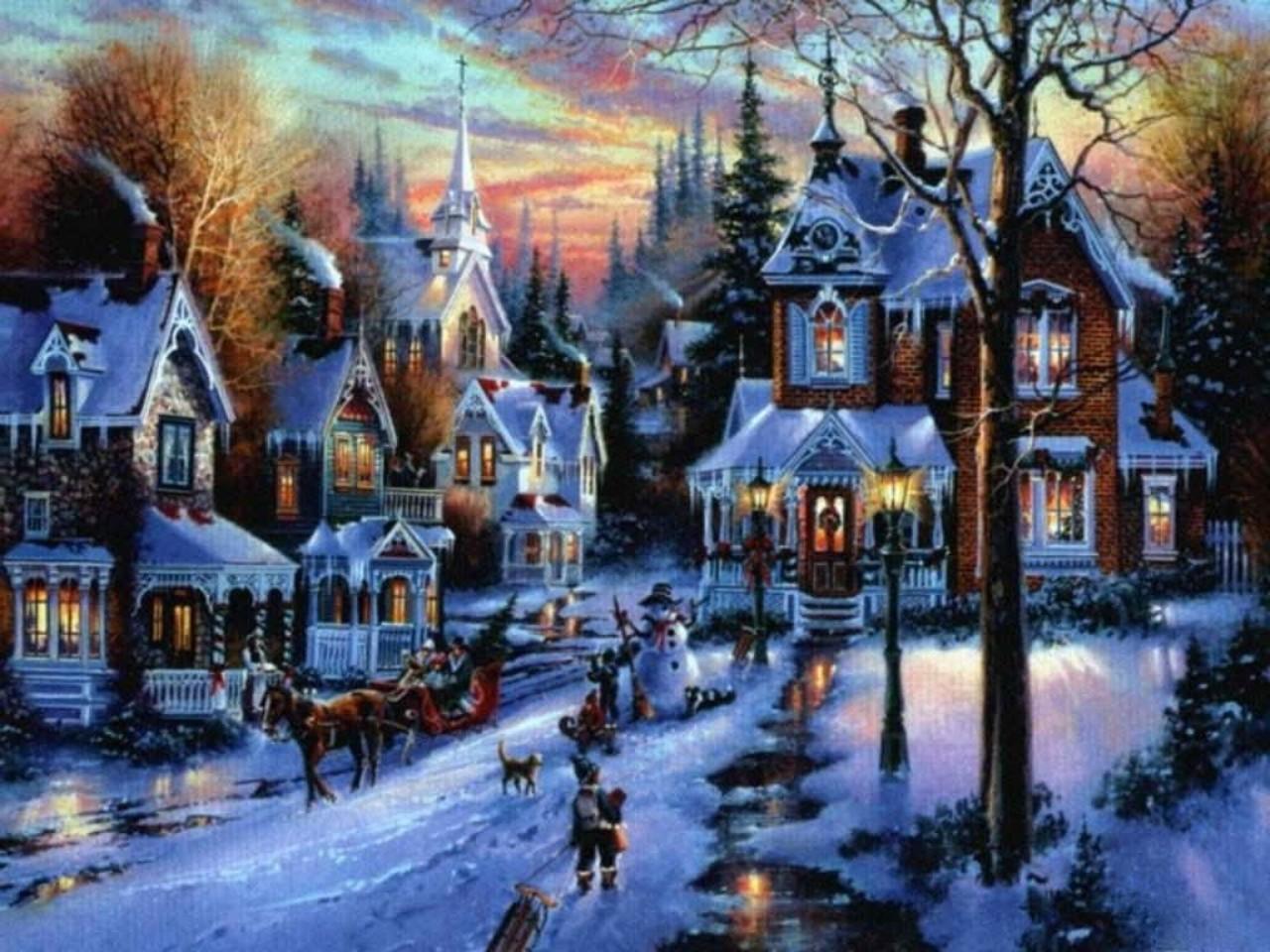 Snowy village wallpaper wallpapersafari - Christmas village wallpaper widescreen ...