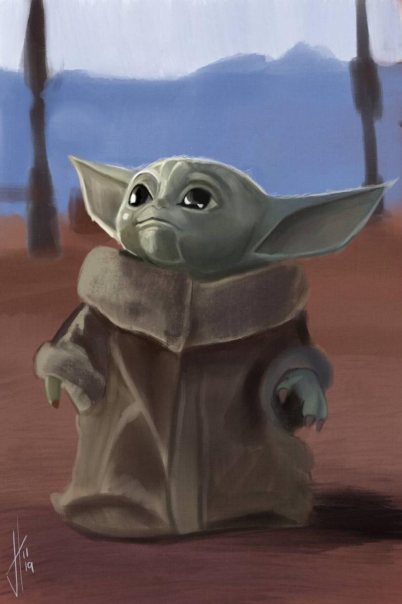 Baby Yoda Art Print The Mandalorian Etsy in 2020 Star wars art 794x1191