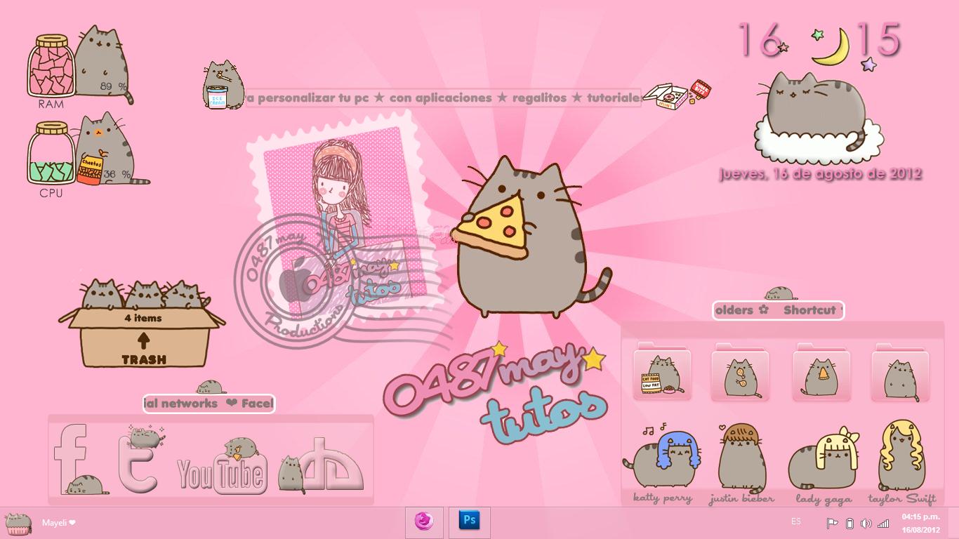 Pusheen cat skin for Xwidget Cleodesktop 1366x768