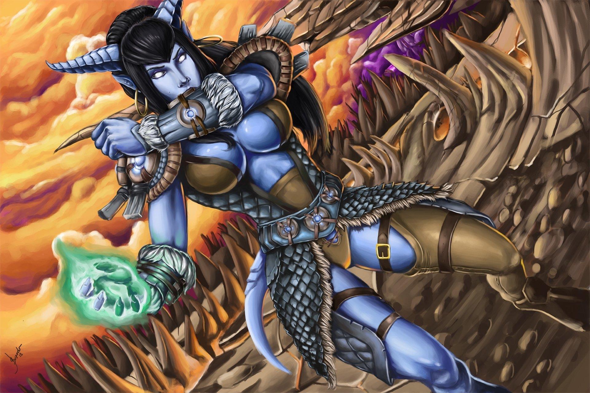 of WarCraft WoW Magic Warrior Horns Games Girls Fantasy wallpaper 1920x1280