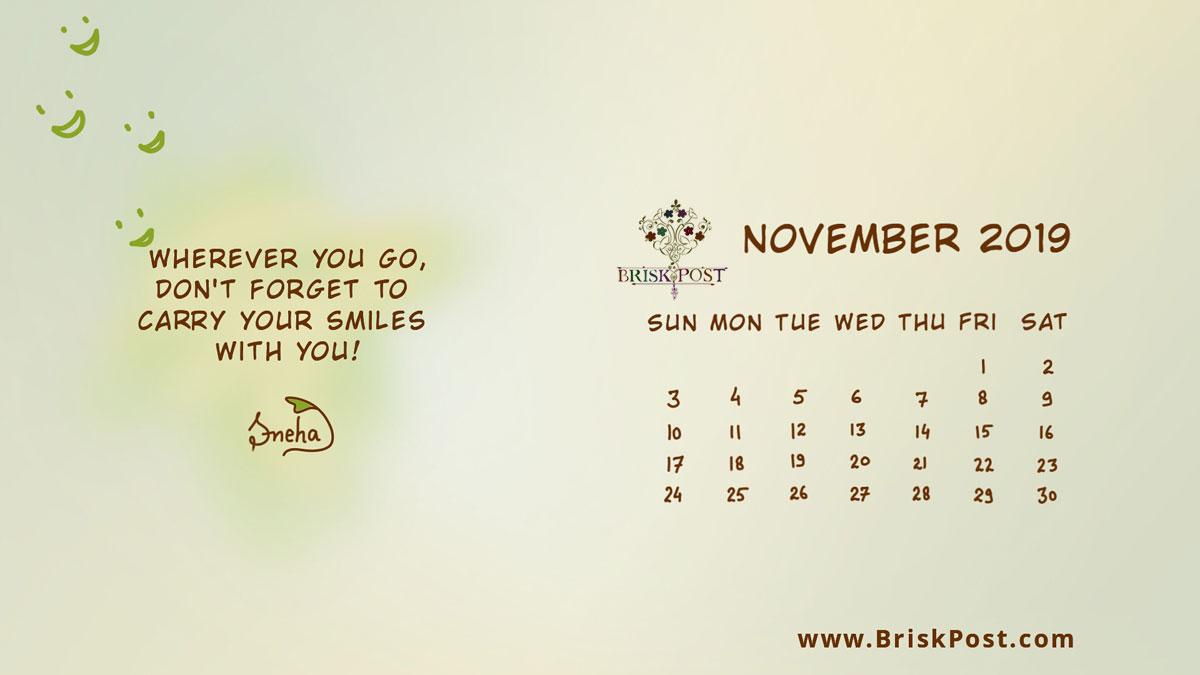 November 2019 Calendar 1200x675