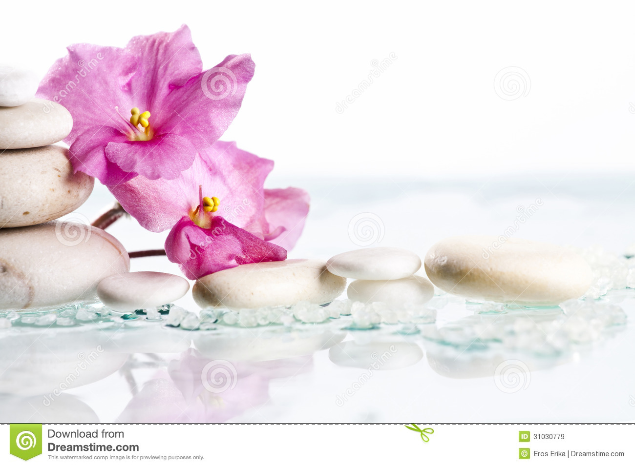 Spa Stones And Pink Flower On White Background Royalty Stock 1300x957