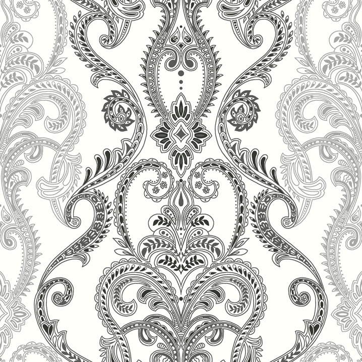 damask with charcoal and silver accents on a crisp white ground 718x718
