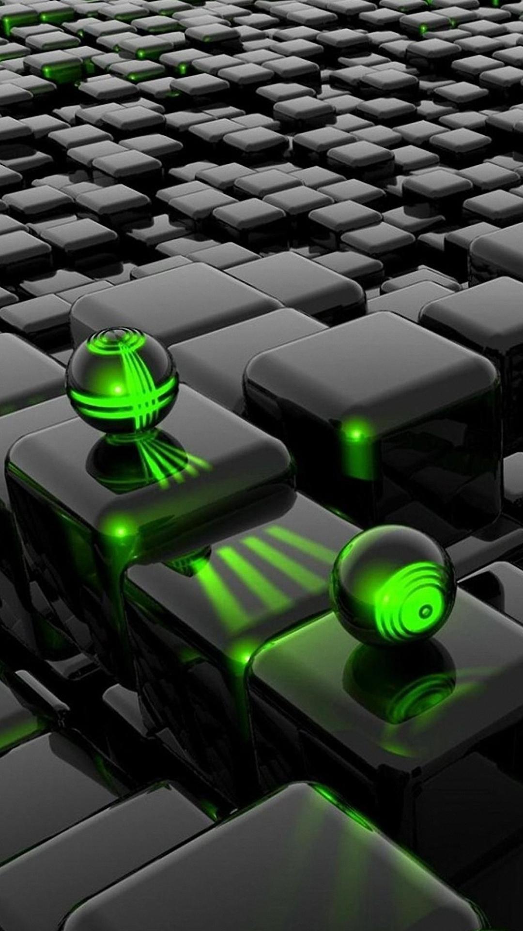 1080x1920 3d Green Ball Dark Cubes iphone 6s plus Wallpaper HD 1080x1920
