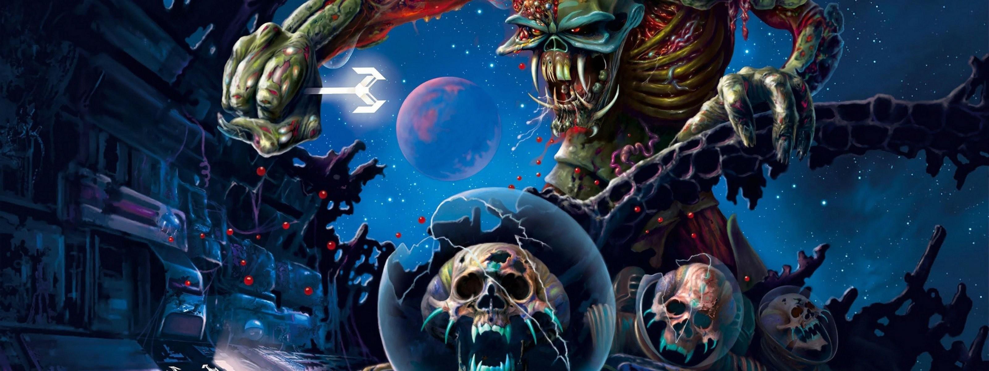 HD Abstract Wallpapers Evil Amazing Maiden Vectors Skull 3200x1200