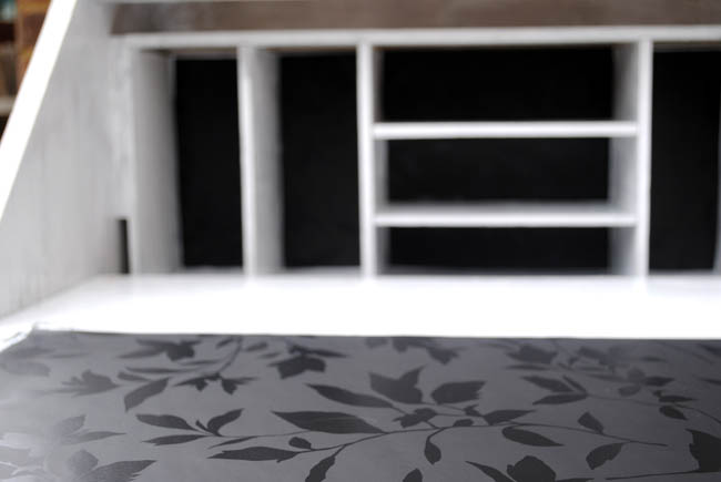 Writing bureau open inside upcycled with wallpaper black and white 650x435