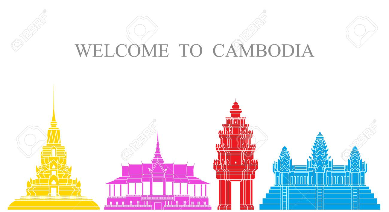 Cambodia Set Isolated Cambodia Architecture On White Background 1300x709