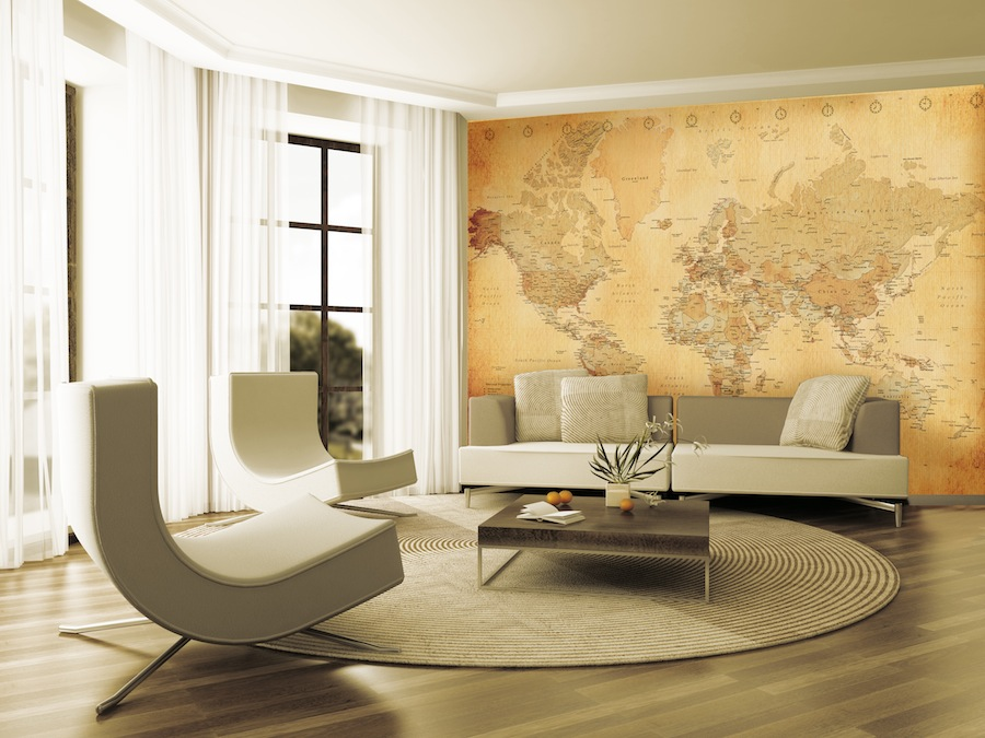 GIANT WALLPAPER WALL MURAL OLD VINTAGE WORLD MAP THEME DESIGN 900x675