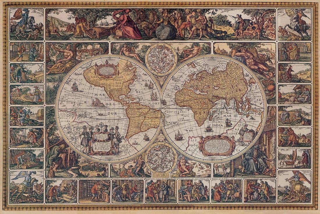 Old world map wallpaper wallpapersafari for Antique world map wall mural