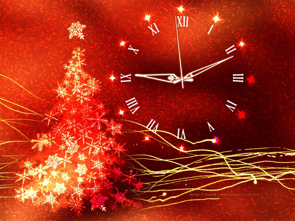 Gold Glow Christmas Clock screensaver   decorate your Christmas with 1024x768