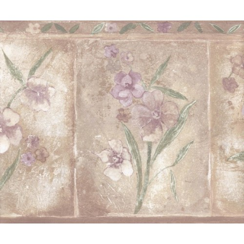 Brown Purple Primrose Floral Wallpaper Border 500x500