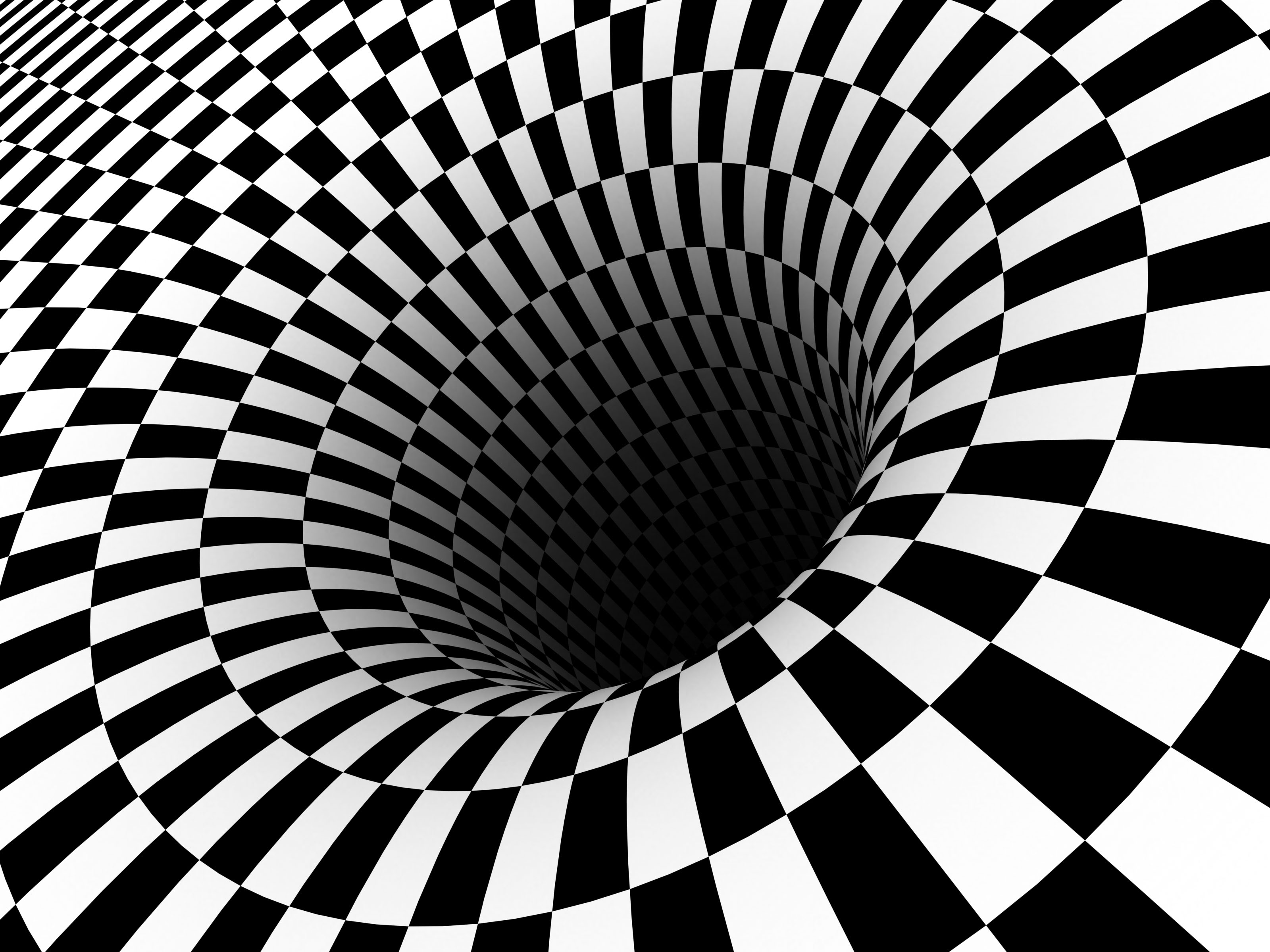 black Hole Checkered Vortex Optical Illusions Wallpapers HD 3200x2400