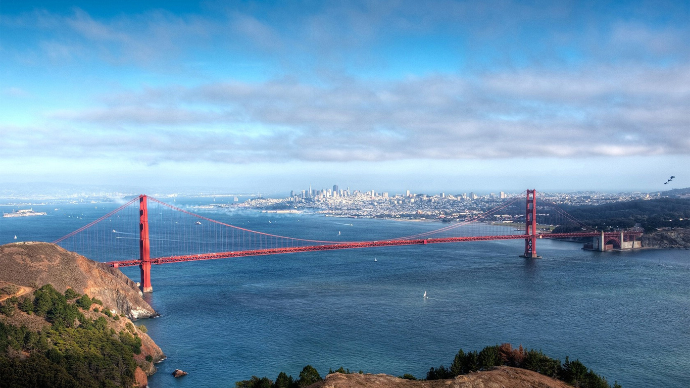 Wallpaper Golden Gate Bridge the water San Francisco City City 1366x768