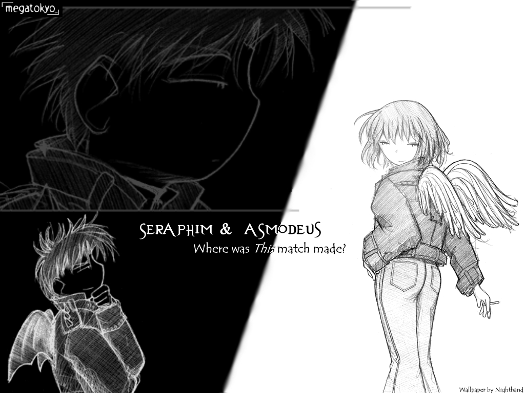 Megatokyo wallpaper Bad Angel by Nighthand 1024x768