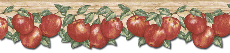 Details about KITCHEN RED APPLES LEAVES Wallpaper Border GS96026DB 770x179