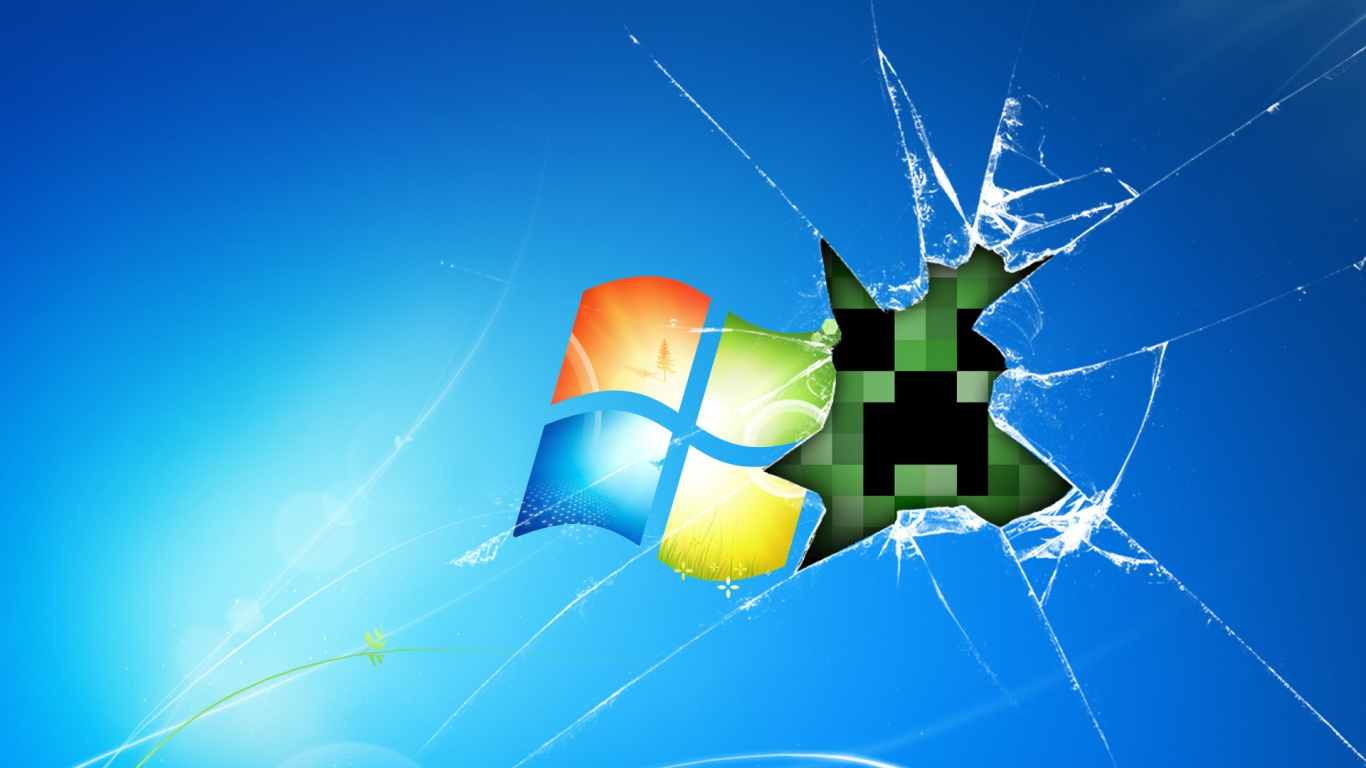 Windows Minecraft Game Glass Desktop laptop 1366x768 HD Background 1366x768