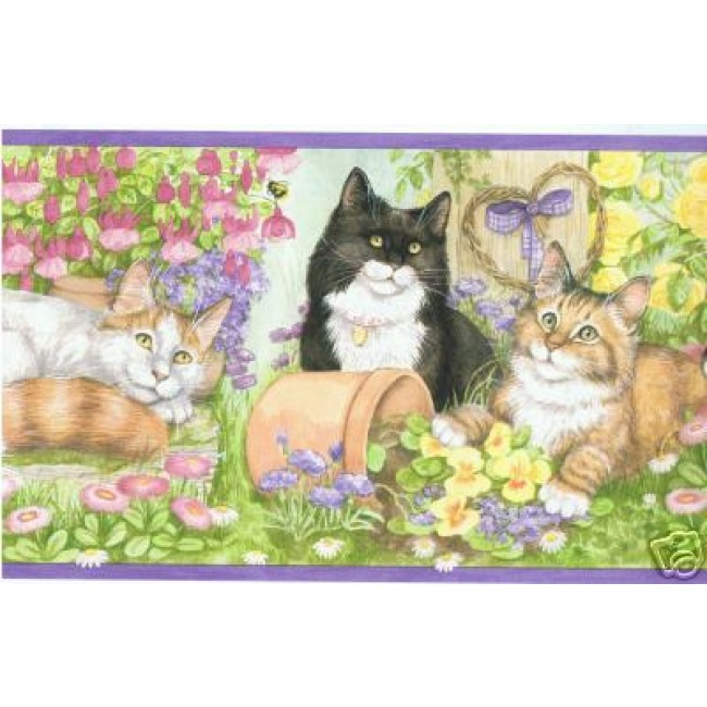PURPLE KITTENSCATS AT PLAY WALLPAPER BORDER   All 4 Walls Wallpaper 650x650