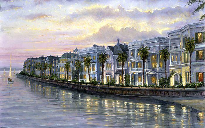 Charleston South Carolina   Charming Coastal House Art Paintings 700x438