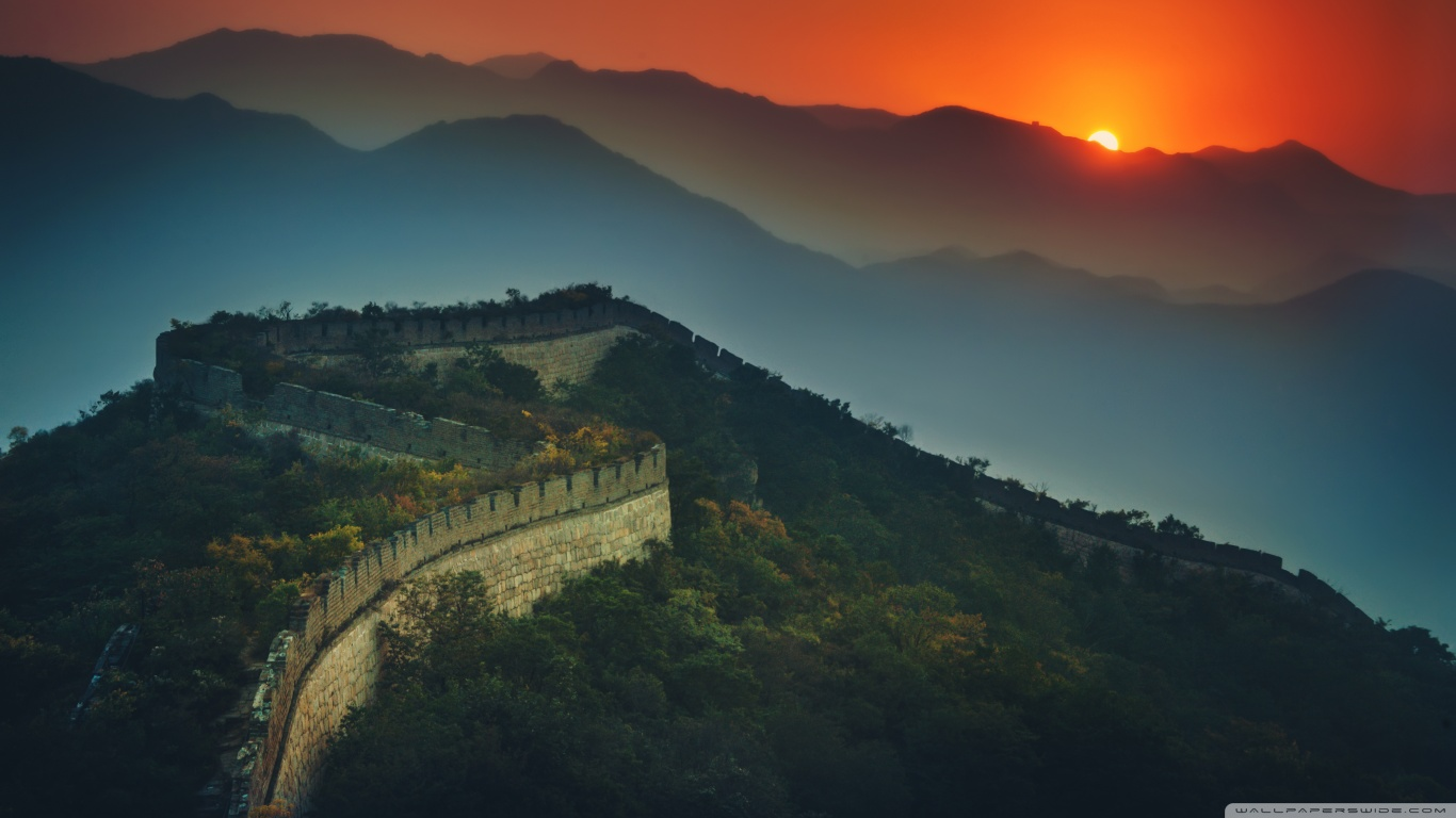 The Great Wall At Sunset 4K HD Desktop Wallpaper for 4K Ultra 1366x768
