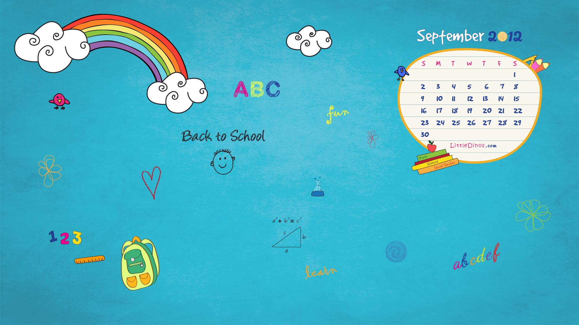 Blog September 2012 Back to School Calendar Wallpaper Little Dinos 1920x1080