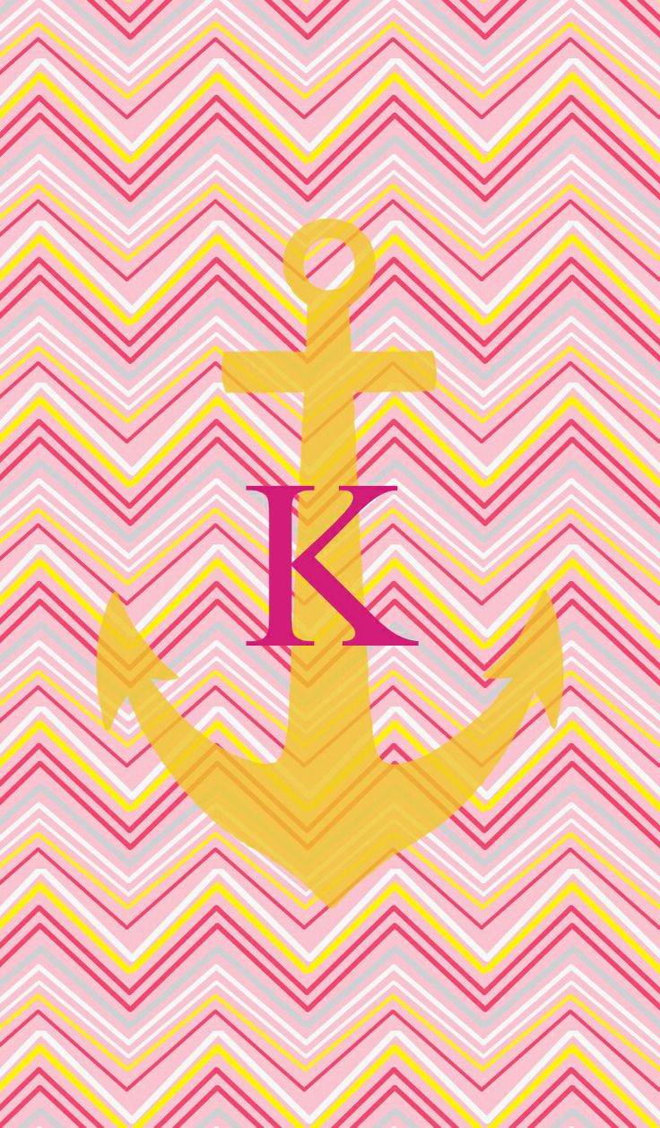 Chevron Wallpaper With Anchor K pinkyellow chevron anchor 736x1258