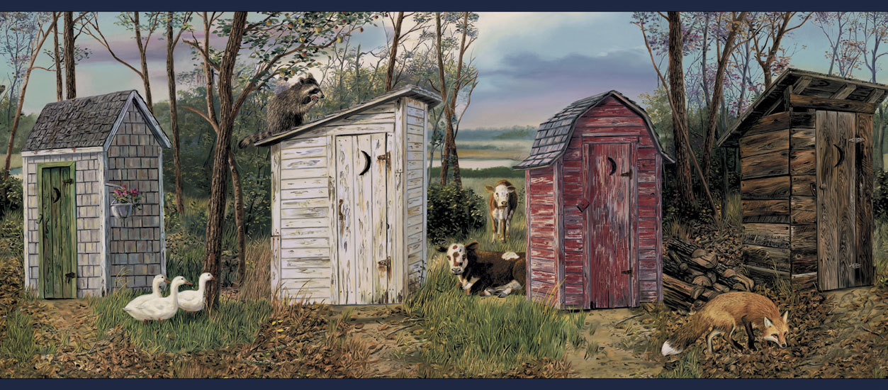 Outhouse Navy Wallpaper Border   Rustic Country Primitive 1253x550