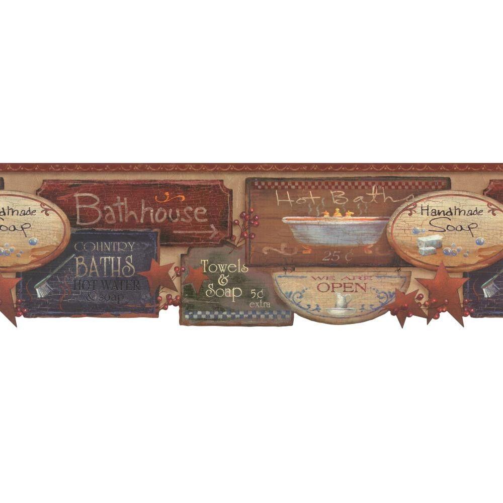 Country Bath Signs Wallpaper Border by York eBay 1000x1000