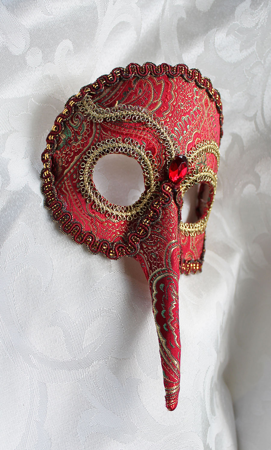 Red Brocade Bird Mask by DaraGallery 900x1492