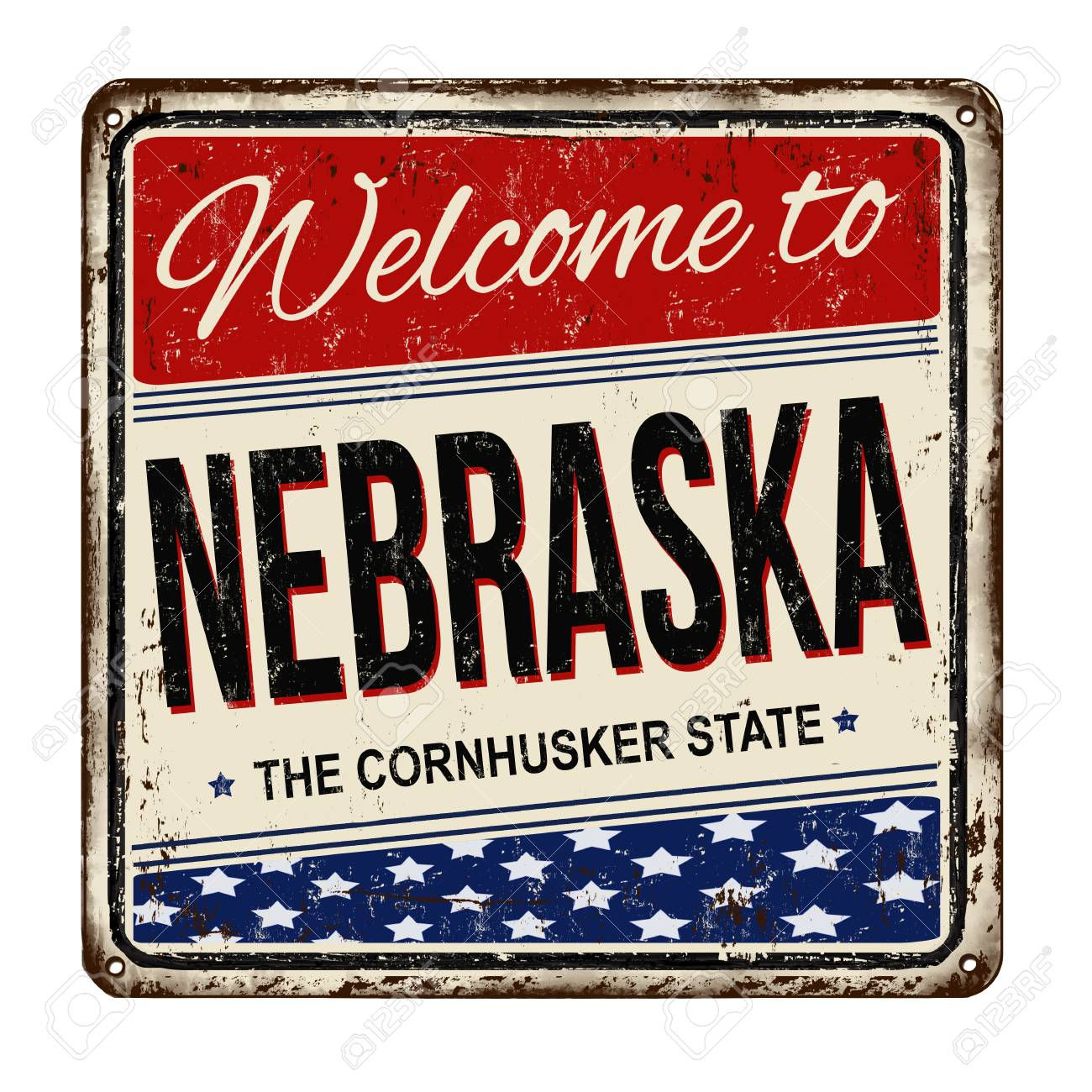 Welcome To Nebraska Vintage Rusty Metal Sign On A White Background 1300x1300