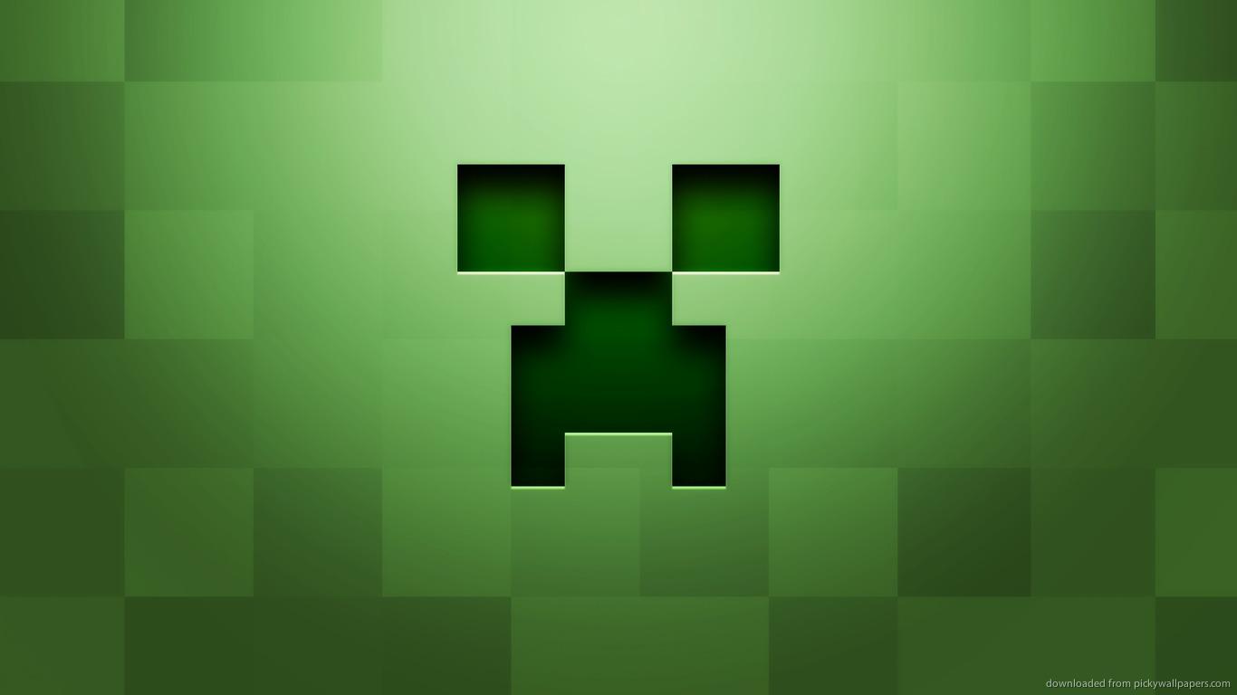 Minecraft Wallpaper Epic Creeper Face 1366x768
