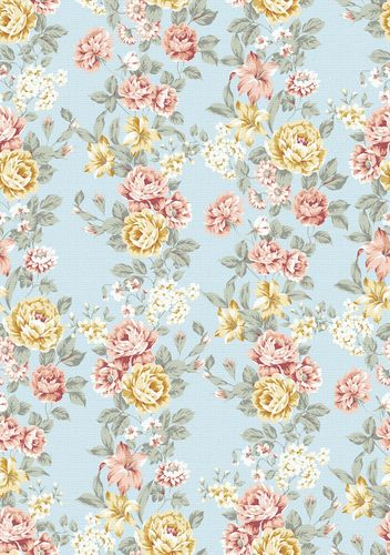 pale blue floral print vintage wallpaper Iphone Wallpapers Floral 352x500
