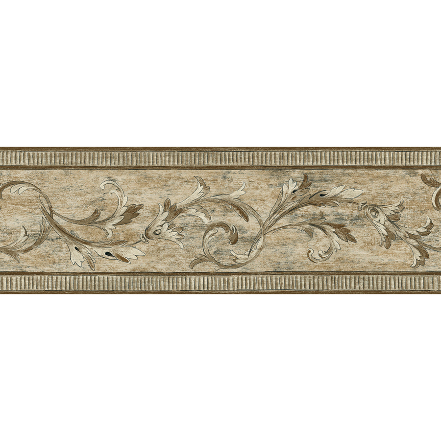 in allen roth 7 brown architectural scroll prepasted wallpaper border 900x900