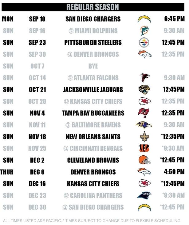 graphic regarding Raiders Printable Schedule named 50+] Oakland Raiders 2015 Agenda Wallpaper upon WallpaperSafari