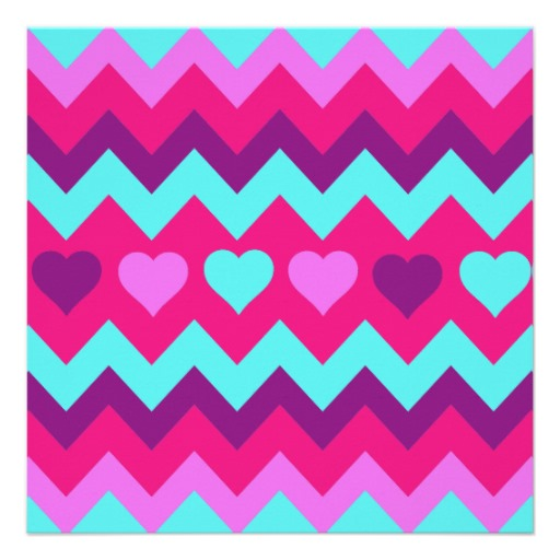 Cute Chevron Hearts Pink Teal Teen Girl Gifts Custom Invitation 512x512