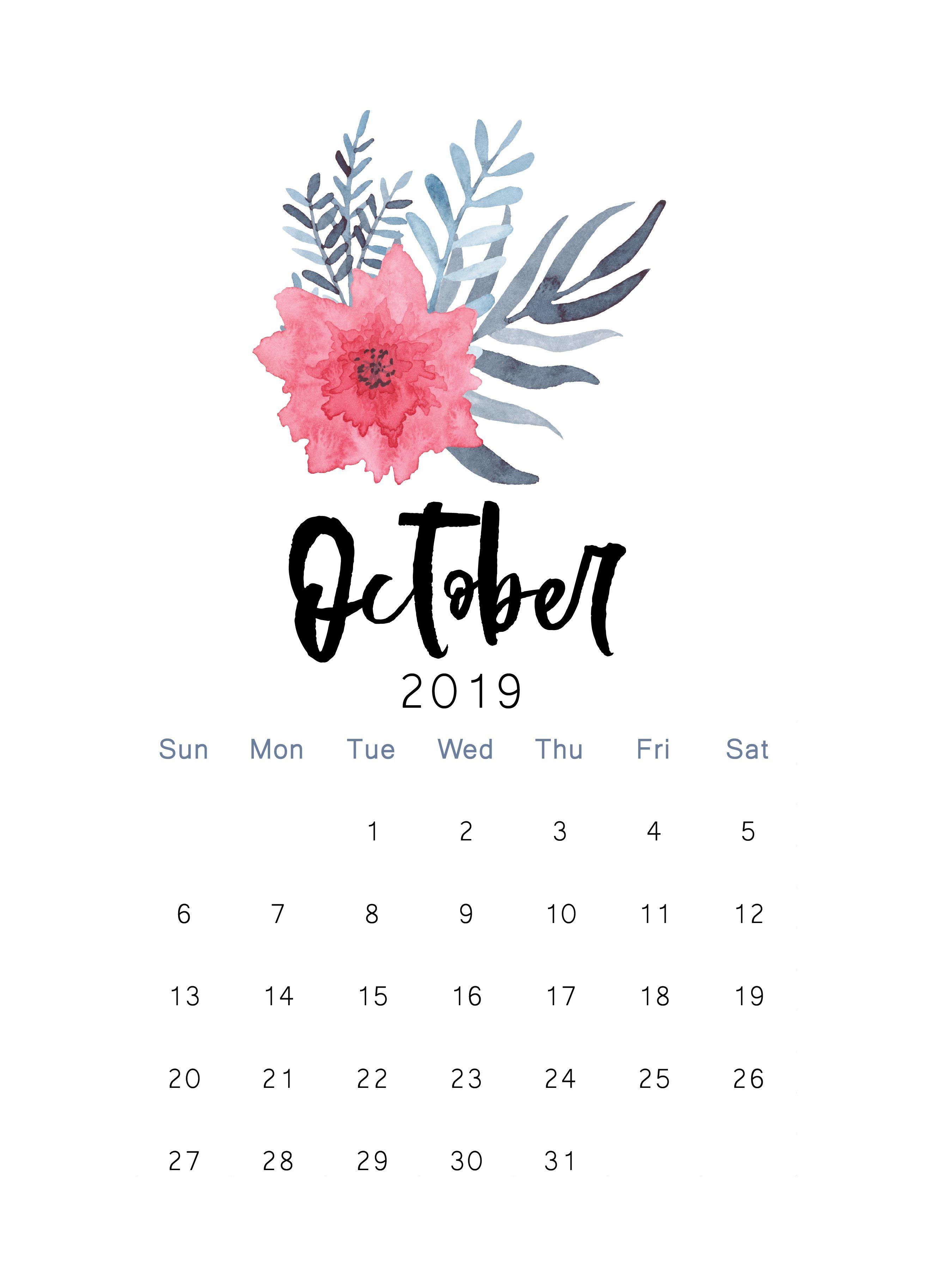 October 2019 Printable Calendar The Cactus Creative Calendar 2623x3649