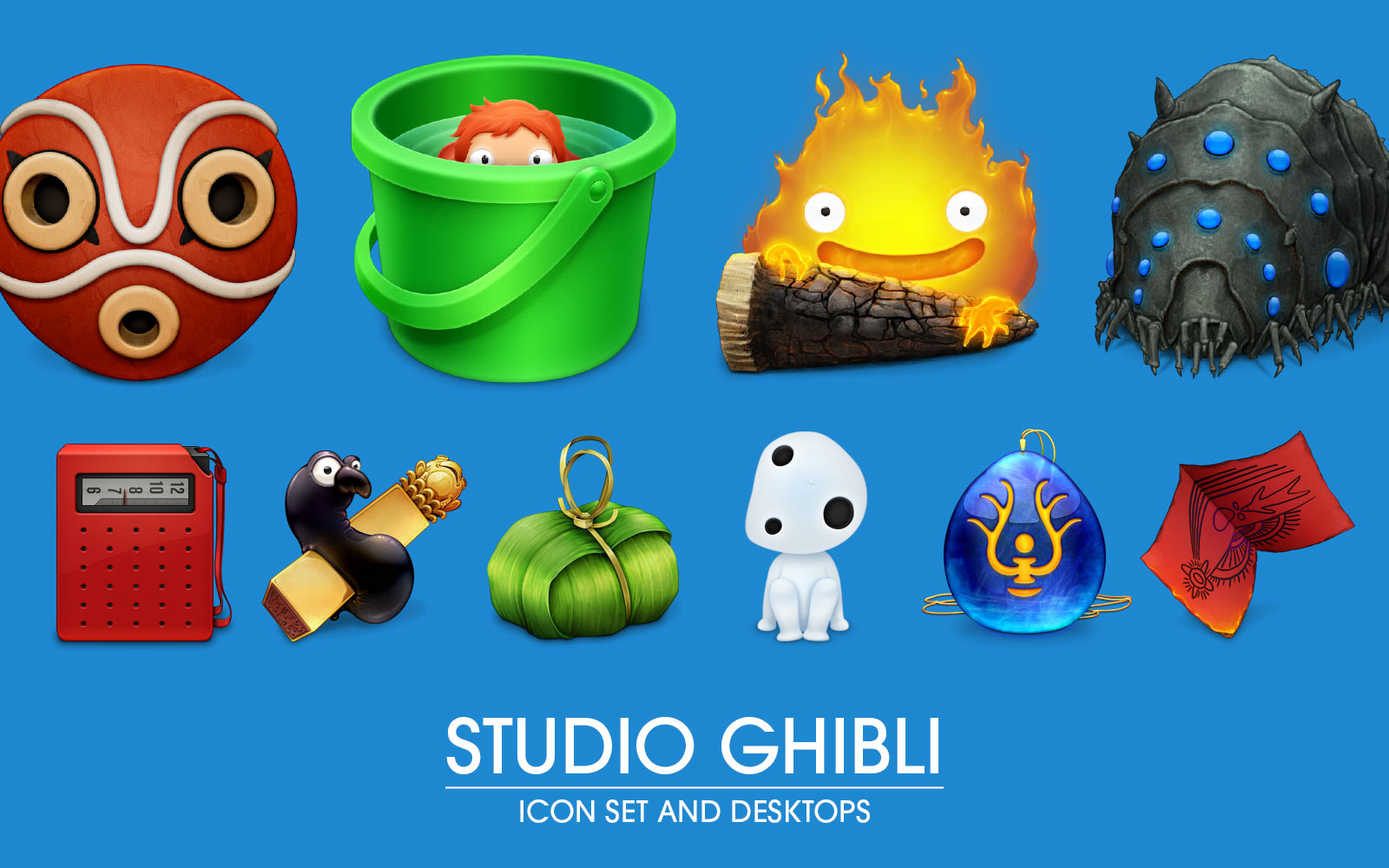 Studio Ghibli Icons 2012 Fan Art Desktop Icons 1600x1000