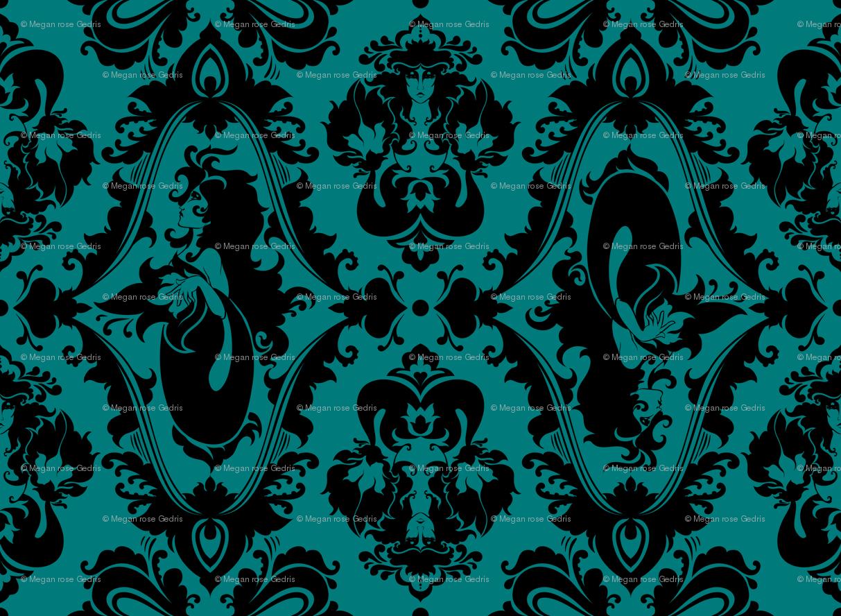 Dark Blue Damask Wallpaper: Black And Teal Wallpaper