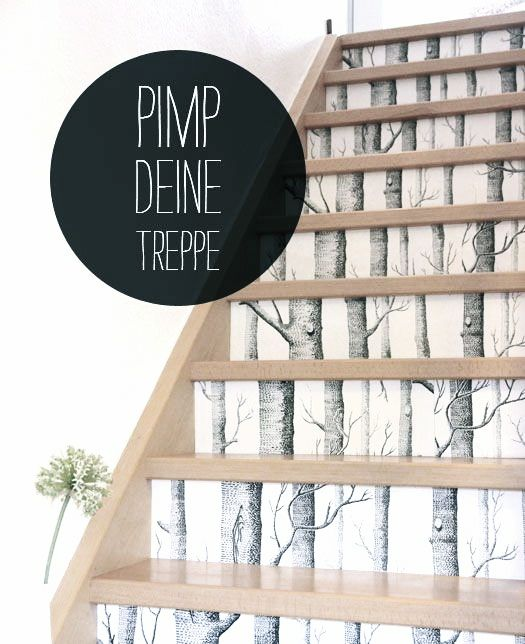 DIY Via Sanvie Pimp Your Stairs with Cole and Son Birch Wallpaper 525x644